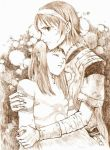 1boy 1girl bandages breasts closed_eyes closed_mouth commentary_request couple dress hetero long_hair mono monochrome nib_pen_(medium) noa24hayashi poncho shadow_of_the_colossus surcoat traditional_media wander