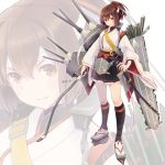 1girl arrow black_legwear black_skirt bow_(weapon) brown_eyes brown_hair brown_hakama cannon close-up colis commentary_request flight_deck frilled_skirt frills full_body hachimaki hair_ribbon hakama headband holding holding_weapon ise_(kantai_collection) japanese_clothes kantai_collection katana kneehighs long_sleeves looking_at_viewer machinery nontraditional_miko pleated_skirt ponytail remodel_(kantai_collection) ribbon sandals sheath sheathed short_hair sidelighting skin_tight skirt smug solo standing sword turret undershirt underskirt weapon white_background