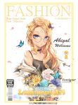 1girl abigail_williams_(fate/grand_order) alternate_costume bangs bare_shoulders black_bow black_shirt blonde_hair blue_eyes blue_flower bow bug butterfly collarbone commentary_request cover eyebrows_visible_through_hair fate/grand_order fate_(series) flower glasses hair_bow hair_ornament hairclip insect key keyhole long_hair looking_at_viewer luminous magazine_cover orange_bow parted_bangs polka_dot polka_dot_bow shirt solo tattoo white_flower yellow_flower