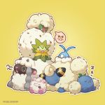 alarm_clock eldegoss gen_2_pokemon gen_3_pokemon gen_5_pokemon gen_6_pokemon gen_8_pokemon jumpluff mareep no_humans nyjee pokemon pokemon_(creature) pokemon_(game) sleeping swablu swirlix whimsicott wooloo yellow_background zzz