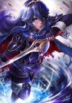 1girl aodavid23 arm_up artist_name belt belt_buckle blue_eyes blue_footwear blue_hair blue_legwear blush bodysuit boots buckle cape english_commentary falchion_(fire_emblem) fingerless_gloves fire_emblem fire_emblem_awakening gloves gold_trim hair_between_eyes highres holding holding_sword holding_weapon lens_flare lucina shiny shiny_hair shoulder_armor signature solo sword thigh-highs thigh_boots tiara torn_cape torn_clothes watermark weapon web_address wrist_cuffs