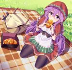 1girl black_legwear box bread breasts buttons day ddt_(darktrident) dutch_angle eating food grass hair_between_eyes hair_flaps highres holding holding_food hood long_hair looking_at_viewer medium_breasts original outdoors pantyhose picnic_basket plaid purple_hair red_skirt seiza shadow shirt sitting skirt solo sunlight underbust very_long_hair violet_eyes white_shirt wrist_cuffs