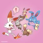 ! azumarill buneary bunnelby chasing gen_2_pokemon gen_3_pokemon gen_4_pokemon gen_6_pokemon gen_8_pokemon minun nyjee pink_background plusle pokemon pokemon_(creature) pokemon_(game) rabbit running scorbunny