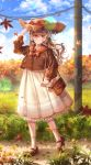 1girl absurdres autumn bag black_footwear blue_sky blurry_foreground brown_handbag day falling_leaves glasses grass handbag hat highres huge_filesize leaf light_brown_hair long_hair looking_at_viewer mocohi123 original outdoors pebble power_lines skirt sky socks solo standing straw_hat sun_hat telephone_pole tree very_long_hair white_skirt