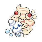 2others alcremie creatures_(company) game_freak gen_5_pokemon gen_8_pokemon hug hug_from_behind ice_cream nintendo no_humans olm_digital one_eye_closed pokemon pokemon_(creature) pokemon_(game) smile snow tv_tokyo vanillite whipped_cream white_background zombiemiki