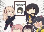 >_< 5girls anger_vein angry anti-rain_(girls_frontline) artist_request chibi closed_eyes commentary_request confused eyepatch girls_frontline headphones highres m16a1_(girls_frontline) m4_sopmod_ii_(girls_frontline) m4a1_(girls_frontline) multiple_girls photo_(object) ro635_(girls_frontline) scar scar_across_eye st_ar-15_(girls_frontline) translation_request