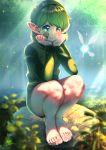 1girl barefoot feet forest green_hair highres k.ty_(amejin) kokiri nature navi saria squatting the_legend_of_zelda the_legend_of_zelda:_ocarina_of_time toes