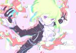 1boy belt biker_clothes black_gloves black_jacket blonde_hair chest congcongcon cravat earrings fire gloves green_hair half_gloves highres jacket jewelry lio_fotia looking_at_viewer mad_burnish male_focus promare solo violet_eyes