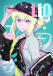 1boy androgynous bangs baseball_cap blonde_hair closed_mouth congcongcon face green_hair hair_between_eyes hat highres jacket lio_fotia long_hair looking_at_viewer male_focus off_shoulder ponytail promare upper_body violet_eyes