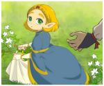 2girls blonde_hair blue_dress dress fingerless_gloves flower frog full_body gloves grass green_eyes impa kneeling looking_at_viewer looking_back multiple_girls parted_lips pointy_ears princess_zelda short_hair skirt_hold solo_focus sweatdrop the_legend_of_zelda the_legend_of_zelda:_breath_of_the_wild tiara usushira white_gloves younger