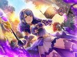 blush dress hanayagi_kaoruko long_hair purple_hair violet_eyes warrior
