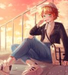 1girl absurdres bag bandaid bandaid_on_face bandaid_on_leg black_jacket blue_pants building candy contemporary copyright_name denim emma_(yakusoku_no_neverland) food green_eyes hair_ornament handbag hat highres huge_filesize jacket lollipop orange_hair orange_sky outdoors pants railing shirt shoes short_hair sitting sky skyscraper smile sneakers socks torn_clothes white_bag white_headwear white_legwear white_shirt x_hair_ornament yakusoku_no_neverland