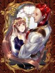 1boy 1girl bangs bare_shoulders blurry blurry_background brown_hair cygnus_186 dancing elbow_gloves eye_contact gilbert_eisenshudel gloves hand_on_another's_cheek hand_on_another's_face hetero indoors long_hair long_sleeves looking_at_another pixiv_fantasia pixiv_fantasia_last_saga pyrite_alchemist_ripley red_eyes redhead scar stained_glass very_long_hair white_gloves yellow_eyes