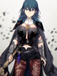 1girl armor blue_eyes blue_hair breasts byleth byleth_(female) cape doku_ringo36 fire_emblem fire_emblem:_three_houses hair_ornament highres long_hair looking_at_viewer short_hair simple_background solo upper_body white_background