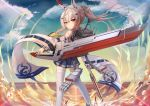 1girl ayanami_(azur_lane) azur_lane bandaid bandaid_on_arm bangs bare_shoulders blue_sky bubble chinese_commentary clouds commentary_request detached_sleeves evening expressionless from_behind headgear holding holding_sword holding_weapon kuaua long_hair long_sleeves looking_at_viewer looking_back ocean orange_eyes platinum_blonde_hair pleated_skirt ponytail retrofit_(azur_lane) rigging rudder_footwear sailor_collar sidelocks skirt sky solo standing standing_on_liquid star_(sky) sword thigh-highs torpedo torpedo_launcher torpedo_tubes weapon white_legwear wide_sleeves