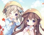 2girls animal_ears autumn_leaves azur_lane blue_shirt bow braid brown_hair clenched_hands commentary_request crescent crescent_hair_ornament dog_ears fumizuki_(azur_lane) hair_bow hair_ornament hairclip hands_on_own_chest hat knees_up leaf long_hair multiple_girls nagatsuki_(azur_lane) one_eye_closed open_mouth pantyhose paw_pose pink_shirt ribbon school_hat school_uniform serafuku shirt side_ponytail sitting smile tsukimi_(xiaohuasan) upper_body very_long_hair violet_eyes white_legwear yellow_headwear