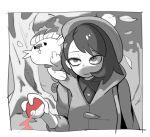 1girl bags_under_eyes bob_cut chillarism female_protagonist_(pokemon_swsh) gen_8_pokemon grey_cardigan hat holding holding_poke_ball long_sleeves middle_finger monochrome poke_ball pokemon pokemon_(game) pokemon_swsh scorbunny short_hair spot_color tam_o'_shanter tree