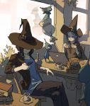 2girls aqua_eyes aqua_hair black_hair book bowl_cut broom candle casual cellphone chair closed_mouth computer cup hat holding holding_cellphone holding_phone laptop multiple_girls open_clothes open_shirt original phone ponytail short_hair sitting smartphone table teacup varguyart window witch witch_hat
