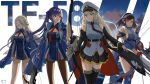 4girls absurdres ahoge aircraft anchor_hair_ornament azur_lane background_text bangs belt black_belt black_coat black_legwear black_neckwear black_ribbon blue_hair blush book bow_(weapon) braid breasts brown_hair clouds cloudy_sky coat collared_shirt commentary_request crossbow dress dusk earrings enterprise_(azur_lane) essex_(azur_lane) eyebrows_visible_through_hair flight_deck glasses grey_hair hair_ornament hair_ribbon hairband hat highres holding holding_book holding_bow independence_(azur_lane) jewelry large_breasts long_hair long_sleeves meatbun_33 military military_hat miniskirt multiple_girls necktie ocean open_clothes open_coat outdoors pantyhose peaked_cap pleated_skirt red_eyes red_neckwear ribbon semi-rimless_eyewear shangri-la_(azur_lane) shirt sidelocks silver_hair simple_background skirt sky sleeveless sleeveless_shirt slit_pupils smile snowflake_hair_ornament tagme twintails underbust very_long_hair violet_eyes wading weapon white_headwear yellow_eyes