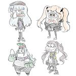 1girl 3boys 404_(girls_frontline) absurdres annoyed beret buck_teeth commentary_request cosplay g11_(girls_frontline) g11_(girls_frontline)_(cosplay) girls_frontline hat highres hk416_(girls_frontline) hk416_(girls_frontline)_(cosplay) kolp1997 korean_commentary multiple_boys patrick_star sandy_cheeks smile sponge spongebob_squarepants spongebob_squarepants_(character) squid squidward_tentacles squirrel starfish twintails ump45_(girls_frontline) ump45_(girls_frontline)_(cosplay) ump9_(girls_frontline) ump9_(girls_frontline)_(cosplay)