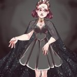 1girl absurdres black_dress breasts dress extra_eyes highres looking_away medium_breasts messenger_(41986996) original pink_eyes pink_hair short_hair simple_background solo standing trypophobia