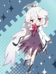 1girl antenna_hair bangs black_footwear blush boots bow chibi closed_mouth commentary_request dress eyebrows_visible_through_hair feathered_wings grey_wings hair_between_eyes hand_up highres jacket kishin_sagume long_hair looking_at_viewer milkpanda open_clothes open_jacket purple_dress red_bow red_eyes silver_hair single_wing sleeves_past_wrists solo sparkle touhou white_jacket wings