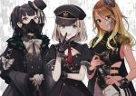 3girls badge bangs black_eyes black_gloves black_hair blonde_hair blue_eyes bow bowtie breasts cane commentary_request dress fur_trim gas_mask gloves gradient_hair gyaru hat idolmaster idolmaster_shiny_colors izumi_mei long_hair looking_at_viewer mayuzumi_fuyuko military military_uniform mini_hat mini_top_hat multicolored_hair multiple_girls pants peaked_cap riding_crop serizawa_asahi short_hair sleeve_cuffs tongue tongue_out top_hat uniform veryberry00 white_gloves