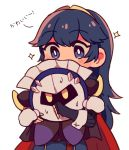 1girl 1other black_cape blue_eyes blue_hair cape fingerless_gloves fire_emblem fire_emblem:_kakusei gloves hal_laboratory_inc. highres hoshi_no_kirby hoshi_no_kirby:_yume_no_izumi_no_monogatari hug human intelligent_systems kirby_(series) kirby_(specie) looking_at_another lucina mask meta_knight nacooo23 nintendo pauldrons red_cape sparkle super_smash_bros. super_smash_bros._ultimate super_smash_bros_brawl super_smash_bros_for_wii_u_and_3ds sweat tiara white_mittens yellow_eyes
