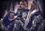 1girl ahoge aodavid23 arm_up armor armored_dress artist_name artoria_pendragon_(all) blonde_hair blue_dress blue_ribbon blush braid buckle church dress english_commentary excalibur fate/grand_order fate/stay_night fate_(series) gauntlets gloves gold_trim green_eyes hair_between_eyes hair_bun hair_ribbon holding holding_dress holding_sword holding_weapon medium_hair ribbon saber shiny shiny_hair shoulder_armor signature solo sword watermark weapon web_address window