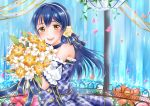 1girl absurdres bangs blue_dress blue_hair blush bouquet choker commentary_request dress eyebrows_visible_through_hair flower hair_between_eyes hair_ornament highres holding holding_bouquet long_hair looking_at_viewer love_live! love_live!_school_idol_festival love_live!_school_idol_project open_mouth petals plaid plaid_dress rin5325 smile solo sonoda_umi water waterfall yellow_eyes