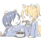 2girls :3 :t aburaage animal_ears arm_support ayase_eli blazer blonde_hair blue_jacket blue_scrunchie blush_stickers chibi chopsticks doma_(domani) eating eye_contact food food_in_mouth fox_ears fox_tail from_side green_neckwear green_ribbon hair_ornament hair_scrunchie hand_up holding holding_chopsticks jacket kemono_friends kitsune_udon long_hair long_sleeves looking_at_another love_live! love_live!_school_idol_project low_twintails multiple_girls neck_ribbon otonokizaka_school_uniform pink_scrunchie ponytail purple_hair raccoon_ears raccoon_tail ribbon school_uniform scrunchie simple_background tail toujou_nozomi twintails udon upper_body white_background |_|
