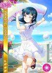 blue_hair blush bubbles character_name dress long_hair love_live!_sunshine!! pink_eyes sky smile tsushima_yoshiko