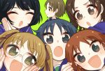 6+girls :d :o bangs black_hair blush bright_pupils brown_eyes brown_hair closed_eyes girls_und_panzer glasses kumasawa_(dkdkr) long_hair looking_at_viewer looking_to_the_side maruyama_saki multiple_girls ooarai_school_uniform oono_aya open_mouth rimless_eyewear sakaguchi_karina sawa_azusa school_uniform short_hair smile sweatdrop tongue twintails utsugi_yuuki v-shaped_eyebrows white_pupils yamagou_ayumi