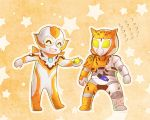 2girls body_armor candy chibi color_connection flying_sweatdrops food kamen_rider kamen_rider_01_(series) kamen_rider_valkyrie multiple_girls orange_background outline patterned_background peachpig star starry_background trait_connection ultra_series ultraman_r/b ultrawoman_grigio white_outline