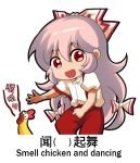 1girl :d bangs bird bow chibi chicken chinese_commentary chinese_text collared_shirt commentary_request cowboy_shot english_text engrish_text eyebrows_visible_through_hair fujiwara_no_mokou hair_between_eyes hair_bow long_hair meme multi-tied_hair open_mouth pants pink_hair puffy_short_sleeves puffy_sleeves ranguage red_pants shangguan_feiying shirt short_sleeves sidelocks smile standing suspenders suspenders_slip touhou translated very_long_hair white_background white_bow white_shirt