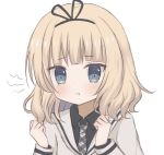 1girl aqua_eyes black_shirt blonde_hair closed_mouth collared_shirt eyebrows_visible_through_hair gochuumon_wa_usagi_desu_ka? grey_neckwear kirima_sharo long_sleeves looking_at_viewer necktie oshio_(oshioshio6u6) pout pouty_lips shirt short_hair simple_background solo upper_body wavy_hair white_background