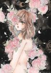 1girl blue_background brown_eyes brown_hair cherriuki crescent_moon flower highres long_hair looking_at_viewer moon nude one_eye_covered original parted_lips petals solo traditional_media upper_body watercolor_(medium) watermark web_address