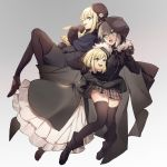 3girls bangs black_gloves blonde_hair blunt_bangs capelet character_request fate_(series) frills gloves gray_(lord_el-melloi_ii) green_eyes grey_background highres hood hooded_jacket jacket long_hair lord_el-melloi_ii_case_files multiple_girls no-kan pantyhose plaid plaid_skirt reines_el-melloi_archisorte short_hair skirt thigh-highs