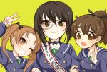 3girls bangs black_hair blush brown_eyes brown_hair collar girls_und_panzer green_background hair_ribbon kadotani_anzu kawashima_momo koyama_yuzu kumasawa_(dkdkr) long_hair looking_at_viewer monocle multiple_girls one_eye_closed ooarai_school_uniform open_mouth ponytail ribbon sash school_uniform semi-rimless_eyewear short_hair simple_background smile sweatdrop teeth tongue twintails v