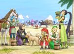 bead_necklace beads blonde_hair blue_eyes blue_hair blue_sky bracelet braid brown_hair bucket camus_(dq11) clouds dog dragon_quest dragon_quest_xi dress drinking earrings facial_hair fingerless_gloves gloves grass green_footwear greig_(dq11) hairband hat hero_(dq11) highres horse horseback_riding jewelry kneeling long_hair martina_(dq11) mustache necklace palm_tree ponytail puffy_sleeves red_headwear riding row_(dq11) senya_(dq11) shinobibe_himika short_shorts shorts sky spiky_hair sylvia_(dq11) tree twin_braids veronica_(dq11) violet_eyes white_hair