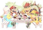 1girl 1other 3boys bench blonde_hair blue_dress bowser bowser_jr. brown_hair chiko_(mario) coffee crown doughnut dragon drink eating father_and_son hosinoirie human ivy luma mario monster mustache nintendo nintendo_ead plants plate plumber princess red_hair rosalina_(mario) rosetta_(mario) sitting star super_mario_bros. super_mario_galaxy table turtle