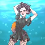 1girl absurdres aqua_eyes black_dress breasts dress extra_eyes hand_on_own_head hands_up highres medium_breasts medium_hair messenger_(41986996) multicolored_hair octopus original simple_background solo standing trypophobia