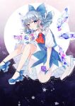 1girl absurdres ascot blue_background blue_bow blue_eyes blue_flower blue_footwear blue_hair blue_skirt blue_vest bow cirno commentary_request feet_out_of_frame flower frilled_shirt_collar frills gradient gradient_background hair_bow highres ice ice_wings katai_(nekoneko0720) knees_up looking_at_viewer petals puffy_short_sleeves puffy_sleeves purple_background purple_flower red_neckwear shirt shoes short_hair short_sleeves skirt skirt_set solo star touhou vest white_shirt wings