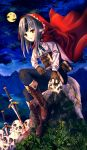 1girl animal_ears black_hair blood boots brown_gloves fire_emblem fire_emblem_fates full_body fuussu_(21-kazin) gloves grass grey_hair highres holding hood hood_up long_hair long_sleeves moon night night_sky parted_lips red_eyes rock sitting skull sky solo sword tail velouria_(fire_emblem) weapon wolf_ears wolf_tail