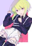 1boy belt blonde_hair blush earrings gloves green_hair hair_ornament half_gloves heart highres jacket jewelry lio_fotia looking_at_viewer male_focus moegi0926 open_mouth otoko_no_ko promare short_hair shorts simple_background smile solo thigh-highs violet_eyes
