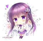 1girl azumi_kazuki bangs big_head black_footwear blush bow cardigan chibi closed_mouth collared_shirt copyright_name eyebrows_visible_through_hair floral_background flower gochuumon_wa_usagi_desu_ka? hair_between_eyes hair_flower hair_ornament hand_on_hip heart kneehighs long_hair long_sleeves plaid plaid_skirt pleated_skirt purple_bow purple_flower purple_hair purple_legwear purple_skirt school_uniform shirt shoes sidelocks skirt smile solo striped striped_bow tedeza_rize twintails very_long_hair violet_eyes white_background white_cardigan white_shirt