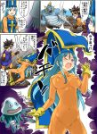 1girl aqua_hair blue_eyes blue_hair blush bodysuit breasts commentary_request cross dragon_quest dragon_quest_iii gloves hat imaichi long_hair mitre monster multiple_boys open_mouth orange_bodysuit priest_(dq3) roto shibirekurage skin_tight sword tabard weapon