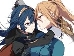 2girls adult armor blonde_hair blue_bodysuit blue_eyes blue_hair blush bodysuit breasts cape falchion_(fire_emblem) fire_emblem fire_emblem:_kakusei fire_emblem_awakening fire_emblem_heroes gloves gun hair_between_eyes hair_ornament handgun high_ponytail hug impossible_bodysuit impossible_clothes intelligent_systems long_hair lucina metroid mole mole_under_mouth multiple_girls nintendo nintendo_ead ponytail retro_studios ryon_(ryonhei) samus_aran shiny shiny_clothes simple_background skin_tight sora_(company) super_smash_bros. super_smash_bros._ultimate super_smash_bros_brawl super_smash_bros_legacy_xp sword teenage tiara weapon yuri zero_suit
