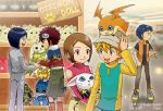 1girl aokiku blonde_hair blue_eyes brown_eyes brown_hair closed_mouth commentary_request crossover digimon digimon_adventure digimon_adventure_02 digimon_tamers gloves goggles hat highres ichijouji_ken li_jianliang motomiya_daisuke multiple_boys patamon short_hair smile tailmon takaishi_takeru terriermon yagami_hikari