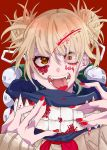 1girl absurdres ao_no_kitsune bangs blonde_hair blood blood_on_face bloody_hair blunt_bangs boku_no_hero_academia commentary_request double_bun eyebrows_visible_through_hair face fangs highres looking_at_viewer messy_hair red_background red_eyes red_nails scarf short_hair smile solo toga_himiko tongue tongue_out yellow_eyes